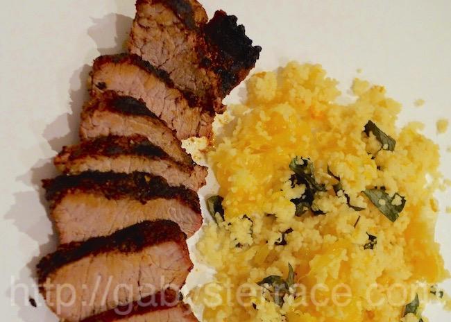 ハリッサのラム肉グリルとオレンジ・クスクス